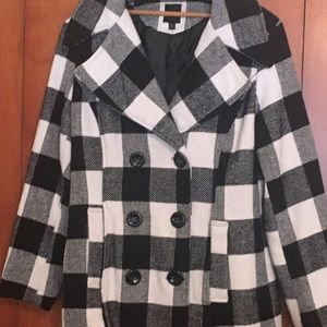 Double-Breasted B&W Checked  Pea Coat